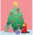 girl hanging tree balls tree gifts merry christmas vector image vector image