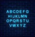 glowing neon blue color alphabet font on dark vector image