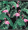 green tropical leaves and pink flamingo seamless vector image vector image