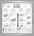 hand drawing restaurant menu design vector image vector image