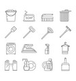 household washing cleaning accessories outline vector image