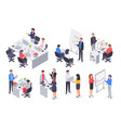 isometric business office team corporate teamwork vector image vector image