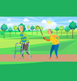 old pensioners walking outdoors rest in park vector image vector image