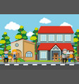 people sitting in front of the house vector image