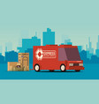 red delivery truck on city landscape background vector image vector image