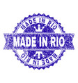scratched textured made in rio stamp seal with vector image vector image