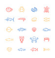 sea food thin line color icon set vector image