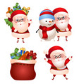 set of of santa claus with gifts vector image