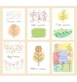 set of six cute universal cards with hand vector image