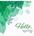spring card with doodle and green leaves vector image vector image