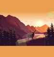 sunset mountain landscape with deer near a lake vector image vector image