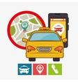 taxi service concept gps mobile phone icon vector image vector image