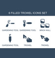 trowel icons vector image vector image