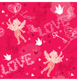 Valentines Day seamless pattern with Cupid vector image