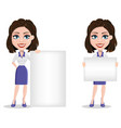 beautiful business woman holding blank placard vector image