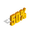 50 percent off sale golden-yellow object 3d vector image vector image
