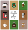 A set of colored coffee items cup of coffee with s vector image