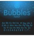 alphabet letters consisting blue bubbles vector image
