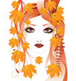Autumn floral girl2 vector image vector image