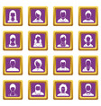 avatars set icons set purple vector image vector image