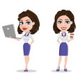 beautiful business woman holding laptop and vector image vector image