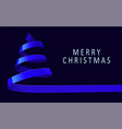 christmas tree made blue ribbon on dark vector image vector image