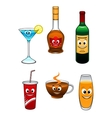 Drinks and beverage cartoon characters vector image vector image