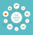 flat icons gourd farm vehicle ecology and other vector image vector image