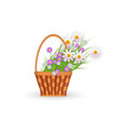flat wicker basket with flowers easter icon vector image vector image