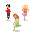frightened kids boy and girl running away in fear vector image vector image