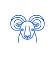 Funny ibex line icon concept funny ibex flat