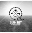 gray sunset with black water sea surface vector image
