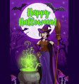halloween witch with potion cauldron and broom vector image vector image