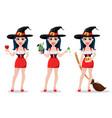 happy halloween set sexy witch vector image