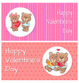 happy valentines day posters soft fluffy teddies vector image vector image