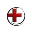 health care red cross medical logo design logo vector image vector image