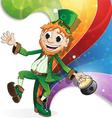 Leprechaun on rainbow background vector image
