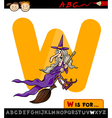 letter w with witch cartoon vector image vector image