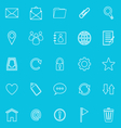 Mail line icons on blue background resize vector image vector image