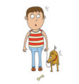 man and dog find a bone vector image vector image