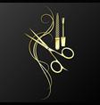 manicure and pedicure scissors golden symbol vector image