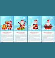 merry xmas and happy new year posters santa claus vector image