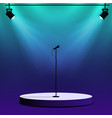 microphone on round stage scene spotlights with vector image vector image