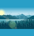 morning mountain landscape with forest and river vector image