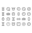 outline clock icons line time 24 hours clocks vector image