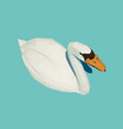 polygonal white swan on water vector image