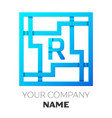realistic letter r logo in colorful square maze vector image