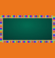 rectangle frame made of colorful pencils on green vector image vector image