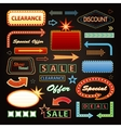 Retro Showtime Signs Design Elements Set Bright vector image