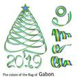 ribbon christmas tree colors of gabon vector image
